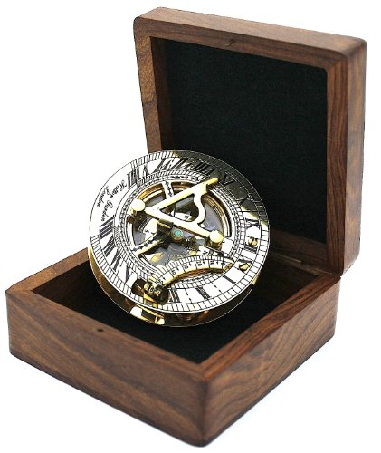 Zap Impex ® Aus massivem Messing Sonnenuhr und Kompass in Feld Hartholz - Taschen Sonnenuhr Kompass