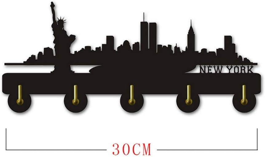 LBR New York Skyline Silihouette Ropa de Madera Sombrero Llave Gancho//Perchero//Gancho de Pared decoraci/ón del hogar Moderno Pegatinas de Pared ba/ño de Cocina Toalla Gancho 30cm) Negro (Largo