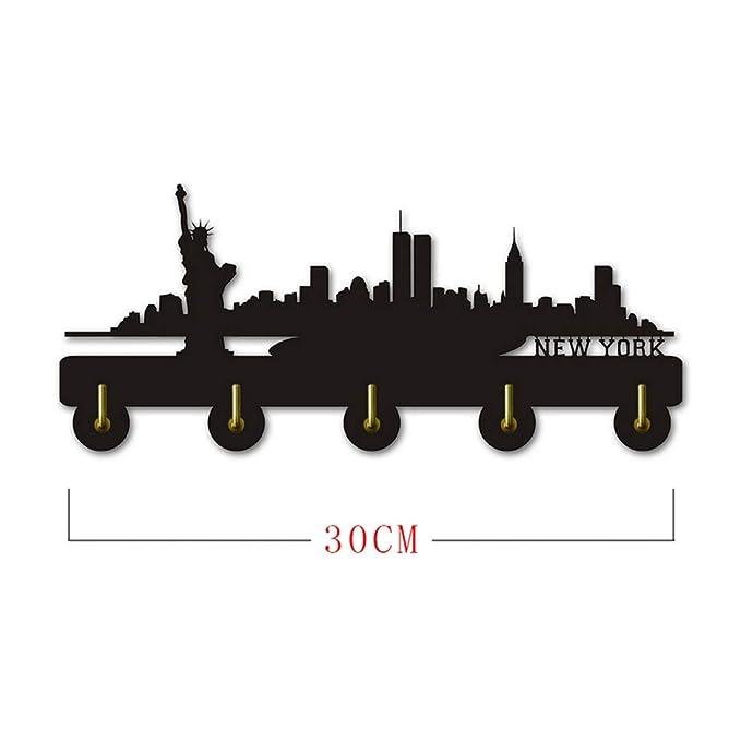 ANMY New York Skyline Silihouette Ropa de Madera Sombrero ...