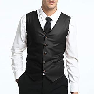 Men's Solid Color Single-Breasted V-Neck Slim Vest Sleeveless Adjustable Back Buckle Belt PU Leather Suit Vest,Black,XXL