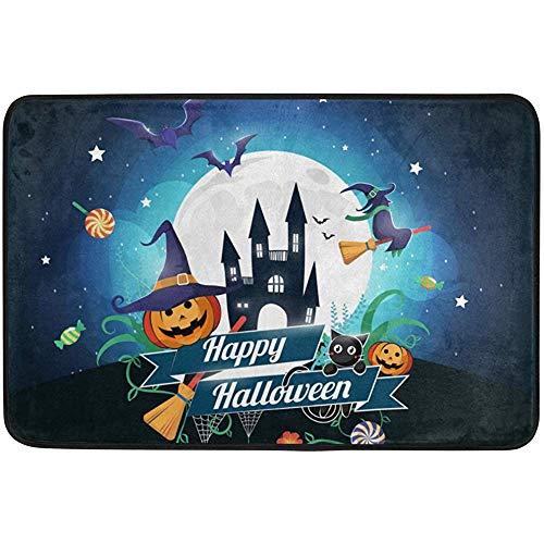 Staromia Vintage Happy Halloween Full Moon Castle Night Pumpkin Cat Non Slip Doormat Doormats Area Rug for Entrance Way Front Door Indoor Outdoor 23.6 by 15.7 Inches 40 x 60 cm