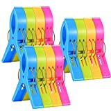 IPOW Towel Clips Plastic Jumbo Size,4 Fun Bright Colors for Beach Chairs or Pool Lounges,Heavy Duty Clips to Keep Your Towels,Clothes,Quilt,Blanket from Blowing Away or Sliding Down, Pack of 12