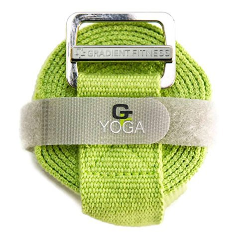 Gradient Fitness Yoga Strap, Friction-Less Easy-Feed Buckle, Super Soft Cotton/Polyester Blend Webbing, Free eGuide. (Green, 8 Feet)