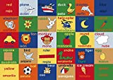 Adgo Kids Collection Anti Bacterial Rubber Backed Non Slip Multi Colors Kids Children's Educational Spanish English Area Rug (3'3'' x 4'7'', Study)