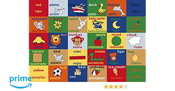 Amazon.com: Adgo Kids Collection Anti Bacterial Rubber Backed Non Slip Multi Colors Kids Childrens Educational Spanish English Area Rug (33