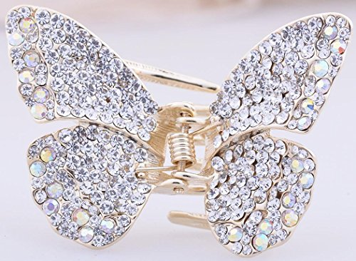 New Style Multi-color Gold Swarovski Crystal Butterfly Hair Claw (New Hair Jaw Clip)