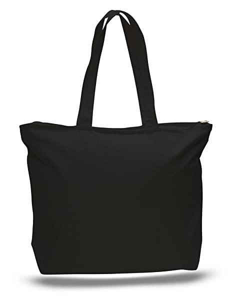 360b8dc19bc Image Unavailable. Image not available for. Color: Zip Top Heavy Canvas  Tote Bag with Bottom Gusset ...