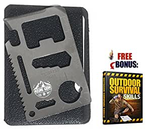Azure Gear 15 in 1 Stainless Steel Multi Tool with Leather Case + BONUS Survival Skills E-Book - Pocket Size Ruler, Beer Opener and Screwdriver - Camping, Fishing, Hiking - TSA Approved (Silver)