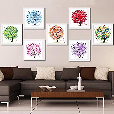 Smartcoco 5D DIY Diamond Painting Purple Tree Wall Sticker 3D Round Diamond Mosaic Cross Stitch Embroidery 30X30CM