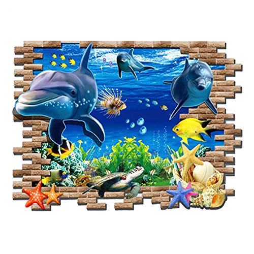 Wall Stickers - 3d Underwater World Matting Self Adhesive Removable Wall Sticker Stickers Home Art Decal Poster - City Zelda Eyes Sea School Room Outlet Valentines Sayings Video
