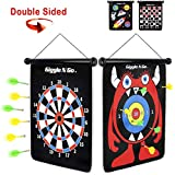 GIGGLE N GO Magnetic Dart Board Game - Our Reversible Rollup Kids Dart Board Set Includes 6 Safe Darts, 2 Dart Games and Easily Hangs Anywhere - Ultimate in Indoor Games (Monster Theme)