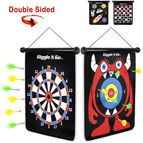 Kids For Games Dart - GIGGLE N GO Magnetic Dart Board - Our Indoor Dart Board for Kids is Reversible and Easy to Set Up - Magnetic Darts is a Safe Indoor Darts Option, and is The Ultimate Kids Dart Board. (Monster Theme)