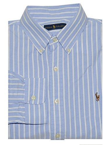Ralph Lauren Men Classic Fit Oxford Striped Pony Logo Shirt (Large, (Blue Striped Oxford Shirt)