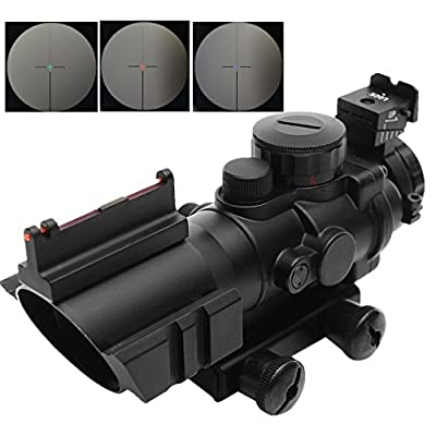 Beileshi Optics 4x32 Red/Green/Blue Triple Illuminated Rapid Range Reticle Rifle Scope with Top Fiber Optic Sight and Weaver Slots from Beileshi