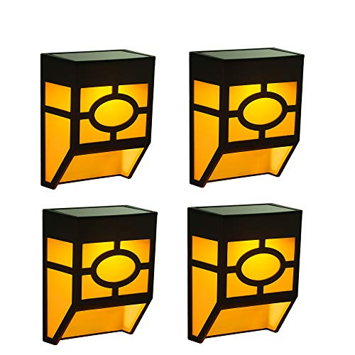 4 Pack Solar Powered Lights for House Landscape Garden Fence Wall Deck Porch Step LED Lamp, Warm White + Color Changing, 2 Modes]()