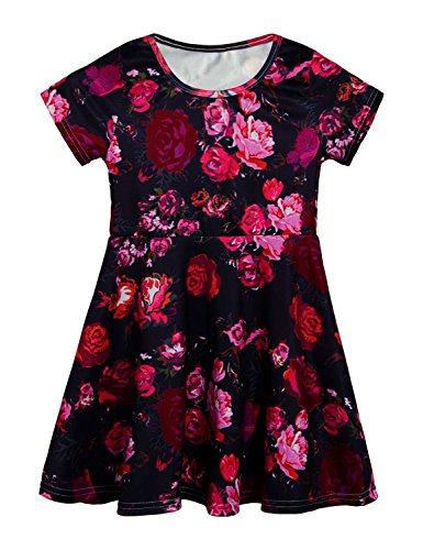 RAISEVERN Toddler Girl's Dress Cute Peony Print Short