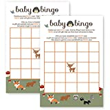 Woodland Baby Shower Bingo Game Card Fill-In Paper Pack of 25