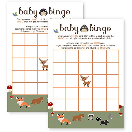 Woodland Baby Shower Bingo Game Card Fill-In Paper Pack of 25 by Paper Clever Party