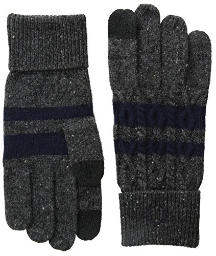 Striped Nylon Gloves (Fred Perry Men's Cable Tipped Touchscreen Gloves, Charcoal Marl, Large)
