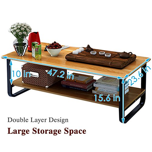 Rectangular Coffee/Tea Table with Storage Shelf (Wood) by Elevens (Image #4)