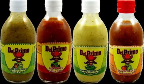 Del Primo Salsa Sauce Sampler 10.5oz Bottle (Pack of 4 Different Flavors)