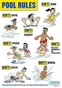 New Cimspa Swimming Pool Swim Training Rules Emergency Precautionery Poster Diy