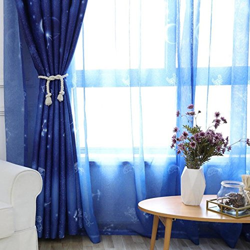 pureaqu Sheer Curtain With Rod Pocket Romantic Zodiac Galaxy Voile Sheer Curtain Panel Drapes For Kids Room/Boys Girls Bedroom Fashionable Living Room Window Tulle Gauze 1 Panel W39 x H84 Inch