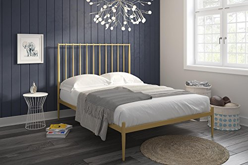 Novogratz Nicole Modern Metal Bed, Lavish & Chic Bed Frame with Under-Bed Clearance for Strorage, Gold - Queen