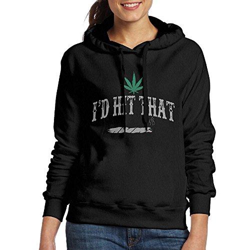 Grhoodie1 I'd Hit That Weed Women's Long Sleeve Pullover Hooded Sweatshirt Black Size XXL