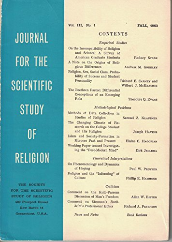 Journal for the Scientific Study of Religion (Fall 1963, Vol. III, No. 1)