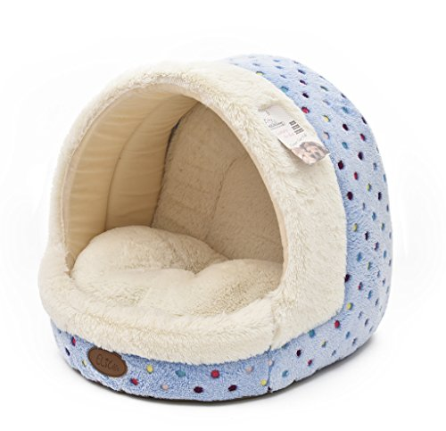 Tofern Colorful Dots Patterns Striped Cute Pet Fleece Bed Puppy Small Medium Dog Cat Sleeping Igloo House Non-Slip Warm Washable (Blue Dots)