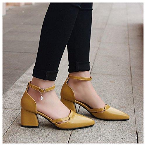 Coolcept Women Fashion Ankle Strap Sandals Heels Yellow XPkcK