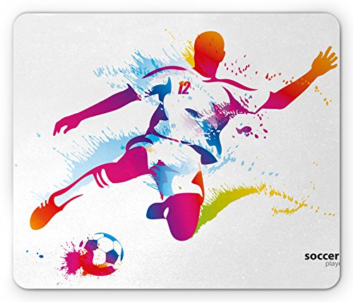 (Ambesonne Teen Room Mouse Pad, Soccer Proffesional Player Kicks Ball Watercolor Style Spray Championship Image, Standard Size Rectangle Non-Slip Rubber Mousepad,)