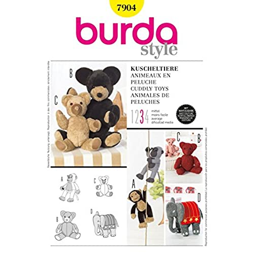 Burda Sewing Pattern 7904, Burda Style, Cuddly Toys Monkey, bear, elephant