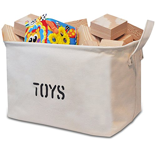 "Canvas ""TOYS"" Storage bin 14""Long (available 17""L and 20""L), large enough for Toy Storage-Shelf-basket, Storage Basket for organizing Baby Toys, Kids Toys, Baby Clothing, Children Books, Gift Baskets."