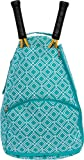 LISH Tennis Racket Backpack - Women's Geometric Diamond Print Tennis Racquet Holder Bag (Teal)