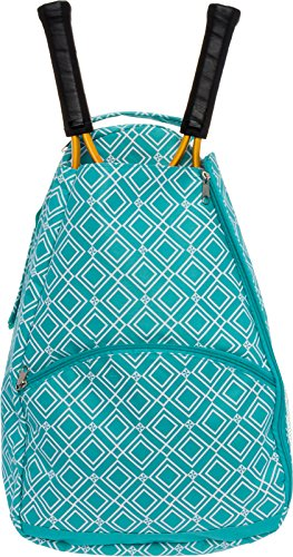 LISH Advantage Tennis Racket Backpack - Women's Geometric Diamond Print Tennis Racquet Holder Bag (Teal) ()
