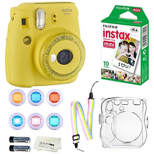 Fujifilm Instax Mini 9 Instant Camera + 10 Fuji Instant Film Sheets + Instax Clear Case W/Rainbow Strap + 6-Color Lenses & More (Yellow)