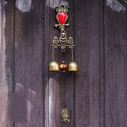 (MUAMAX Vintage Owl Bells Shopkeepers Doorbell Store Vintage Entry Bell Metal Owl Decorative Bells for Home Office Garden Kitchen Magnetic Door Wall Mount (Red Belly) )
