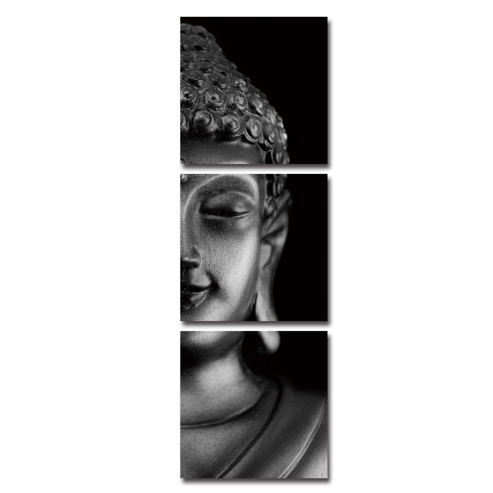 RIHE Modern 3 Pcs 12x12inch Giclee Canvas Prints Buddha Pictures Paintings on Canvas Wall Art Ready to Hang for Bedroom Home Office Decorations (D)