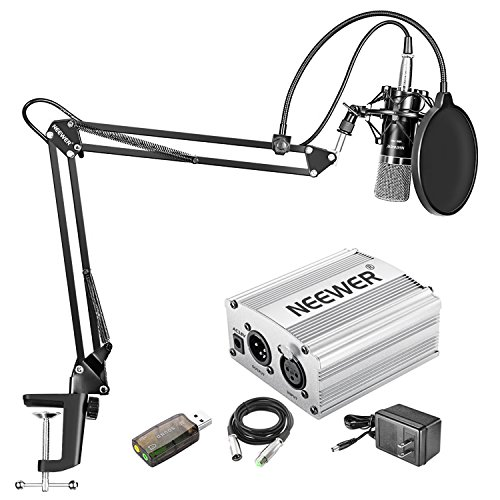 Neewer Home Studio NW-700 Condenser Microphone Kit with Shock Mount, NW-35 Boom Scissor Arm Stand, 48V Phantom Power Supply(Silver), XLR Cable, Pop Filter and Type-A USB External Stereo Sound Adapter ()