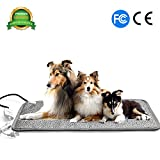 Heated Dog Bed - Pet Heating Pad Cat Heating Mat Waterproof Pets Heated Bed Adjustable Dog Bed Warmer Electric Heating Mat With Chew Resistant Steel Cord (29.7x17.7
