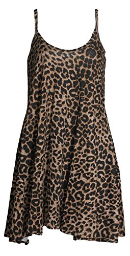 - Forever Women's Scoop-Neck Animal-Print Sleeveless Short Fit-and-Flare Dress, Leopard Brown, 14/16