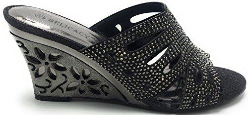 Sandal Prom Wedge Delicacy Simone Womens Black Toe Heel 30 Shoes Dressy Glitters Rhinestones Peep znHqBSZ