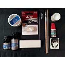 Complete Acrylic Sculpture Kit-Starter Nail kit with Maximum Speed Nail Glue / Acrylic primer/Acrylic Liquid/Acrylic Powder/20 Natural Nail Tips/20 Nail Forms/Brush/Nail File and White Buff Block by Kiss by Kiss