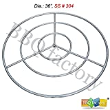 bbq factory Stainless Steel Fire Pit Burner Ring, 36-Inch dia, SS #304, MAX 443,000 BTU