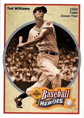 1992 Upper Deck Baseball Heroes 30 Ted Williams Card Wins Triple