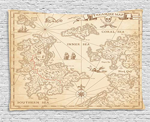 (Ambesonne Island Map Decor Collection, Detailed Treasure Map with Unique Nautical Symbols Discovery Exploration Decorations Print, Bedroom Living Room Dorm Wall Hanging Tapestry, 80 X 60 Inches, Beige)