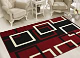 Sweet Home Stores Modern Boxes Design Area Rug, 8'2''X9'10'', Dark Red