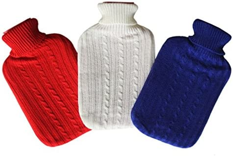 2 Liter Wellness Wärmflasche Bettflasche Wärm Flasche mit Bezug in 3 Farben